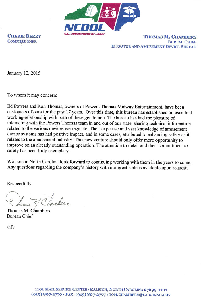 NC Dept of Labor Letter (click to enlarge)